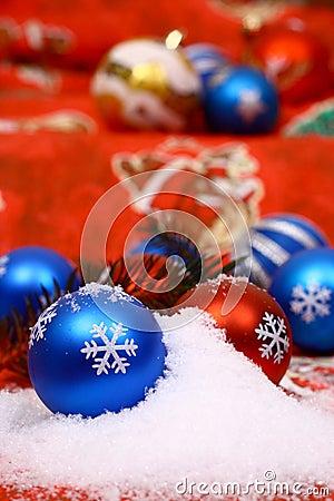 Xmas balls in snow