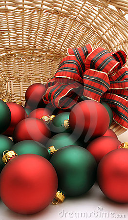 Xmas baubles in basket