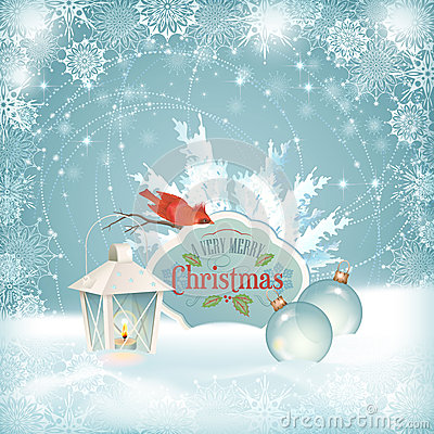 Free Xmas Bird Lantern Christmas Balls Background Royalty Free Stock Images - 34521519
