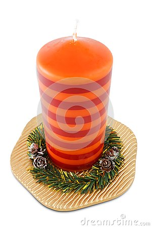 Xmas candle on plate