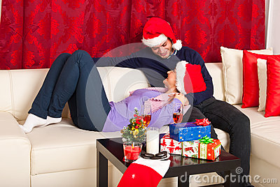 Xmas couple having conversation