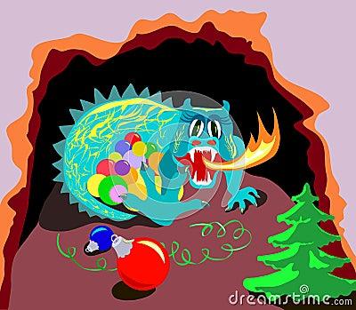 Xmas dragon in cave