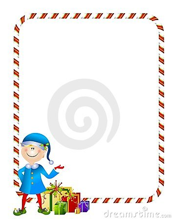Xmas Elf with Gifts Border