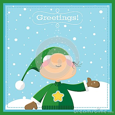 Xmas Elf Greeting Card