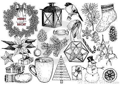 Xmas engraved objects. Fir branch, lantern, poinsettia, mistletoe, cookie, cone, snowman, cup, candy, glove, gift, ball. Vector Illustration