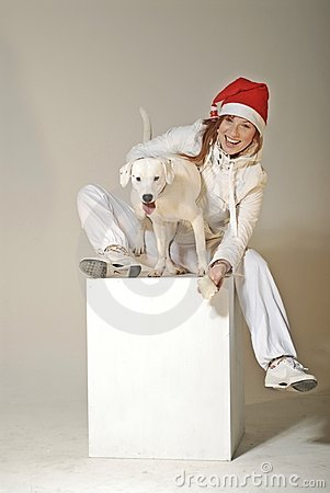 Xmas girl with dog