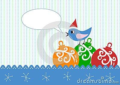 Xmas greeting card  bird