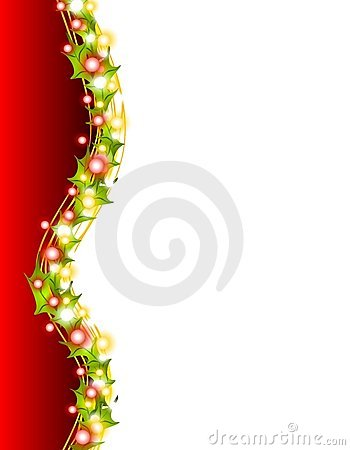 Free Xmas Lights And Holly Border 2 Royalty Free Stock Image - 3598436