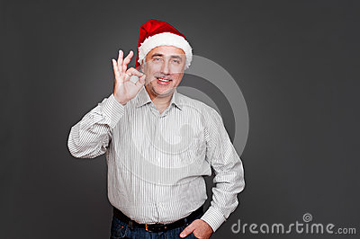 Xmas man showing ok sign