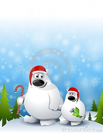 Free Xmas Polar Bear And Cub 2 Royalty Free Stock Image - 7049786