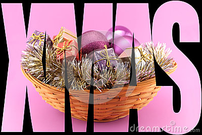 Xmas Poster with basket on pink