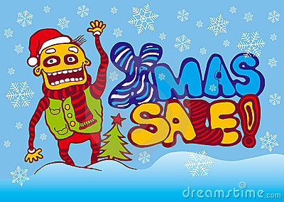 xmas sale banner with funny boy and xmas tree