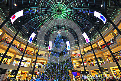 Xmas in shopping mall Editorial Stock Image
