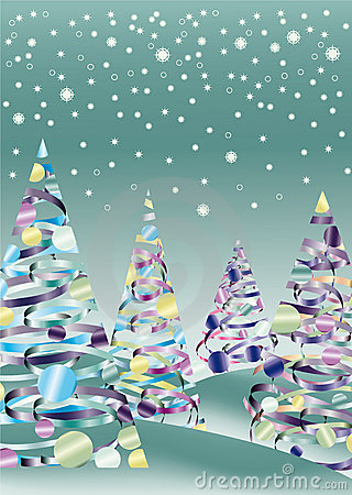 Xmas snow tree landscape