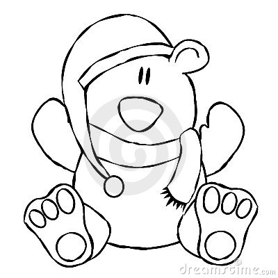 Xmas Teddy Bear Line Art