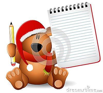 Xmas Teddy Bear Notepad