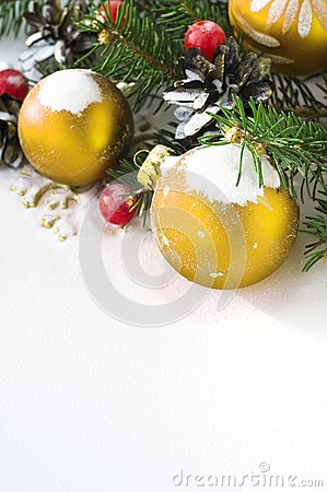 Xmas tree and baubles on the snow