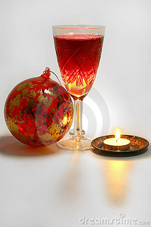 Xmas tree decoration with candle and wine