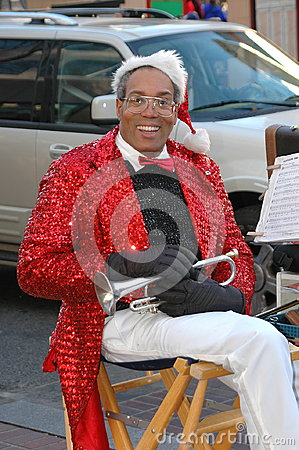 Free Xmas Trumpet Player. Stock Photo - 98552660