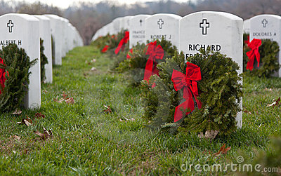 Xmas wreaths in Arlington Cemetery Editorial Photography