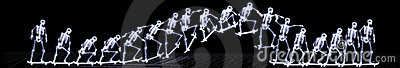 Xray of human skeleton jumping freestyle