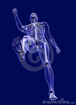 Xray Man Walking - from below - with clipping path