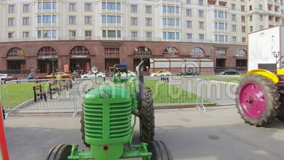 XTZ-7 tractor of Kharkov Tractor Plant. RUSSIA, MOSCOW - October 4, 2019: XTZ-7 tractor of Kharkov Tractor Plant. The exhibition Evolution of traction: from plow stock video