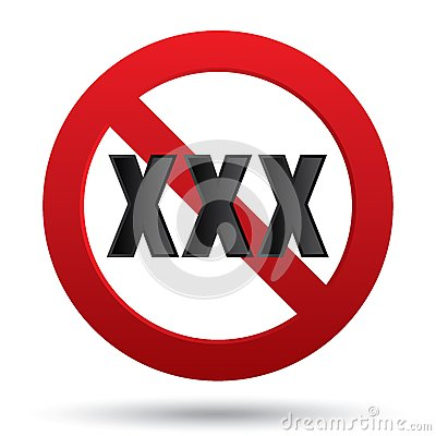 XXX adults only content sign. Vector button.
