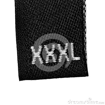 XXXL size clothing label tag, black isolated