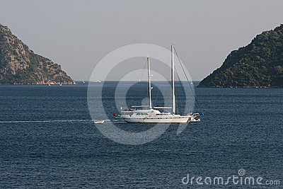 Yacht on anchor in the Aegean Sea