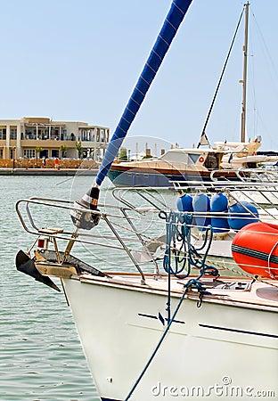 Yacht anchored in a marina
