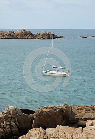 Yacht in the bay. Guernsey