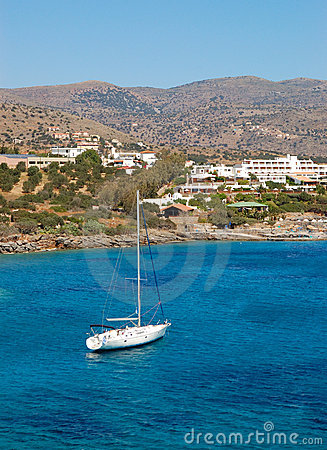Yacht at the beach of luxury hotel