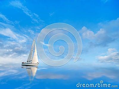 Yacht on blue sky