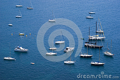 Yacht boats in Mediterranean sea