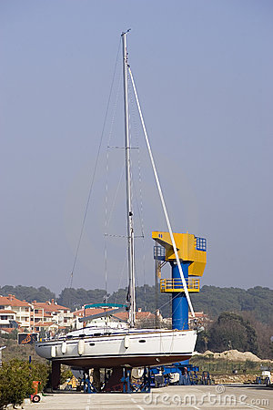Yacht in dry dock