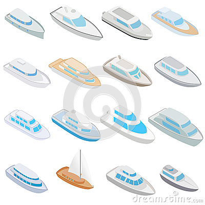 Yacht icons set, isometric 3d style Vector Illustration