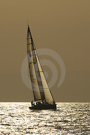 Free Yacht In Evening Sea Royalty Free Stock Image - 13451446