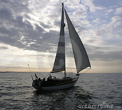 Free Yacht Is Sailing In The Evening Stock Photo - 818430