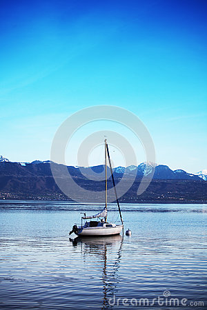 Yacht on lake geneva