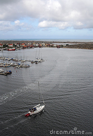 Yacht leaving the marina