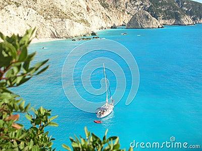 Yacht by lefkada s coastline