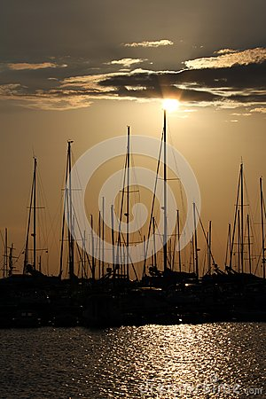 Yacht marina at sunset