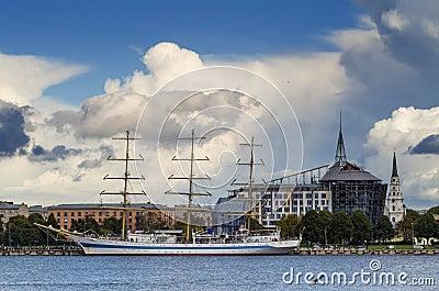 Yacht at marine port of Riga, Latvia
