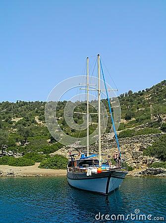 Yacht moored in Aegean sea