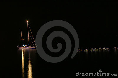 Yacht in night