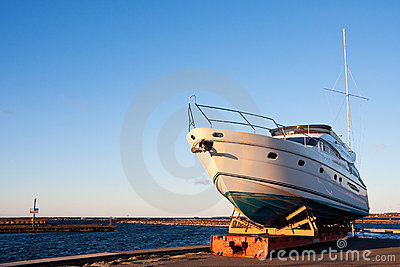 Yacht out of the water