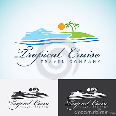 Free Yacht, Palm Trees And Sun, Travel Company Logo Design Template. Sea Cruise, Tropical Island Or Vacation Logotype Icon Royalty Free Stock Images - 62849309
