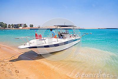 Yacht for rent on the beach in Abu Dhabi Editorial Stock Image