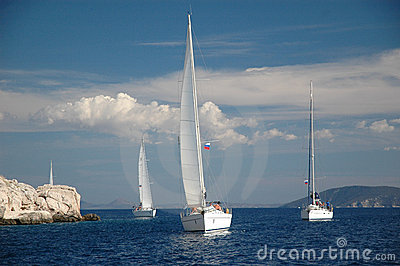 Yacht sail in the sea